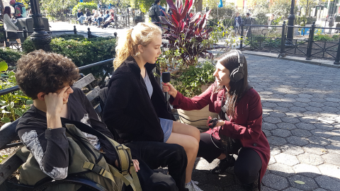 Laura Rojas Aponte interviews a woman in New York City as part of her fellowship with Fusion's podcast team in fall 2017. Photo courtesy of Laura Rojas Aponte.
