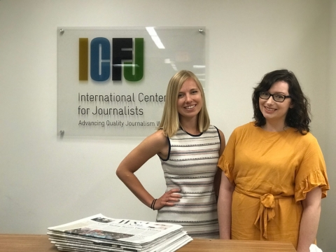 From left to Taylor Mulcahey, overseeing oversees IJNet's English-language content, and Samantha Berkhead, IJNet's manager.