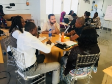 ICFJ Knight Fellow Jacopo Ottaviani develops story ideas with Nigerian journalists.